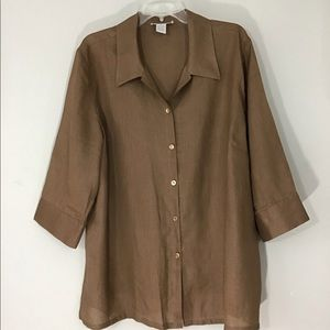 Lagenlook 100% Linen Button Up Tunic Size 2X